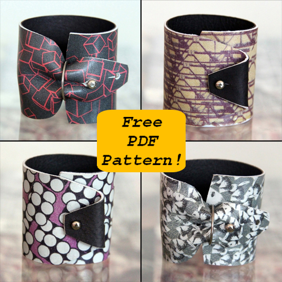 printed leather cuff - free pattern