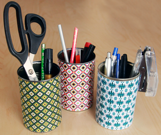 Colorful paper desk organizers