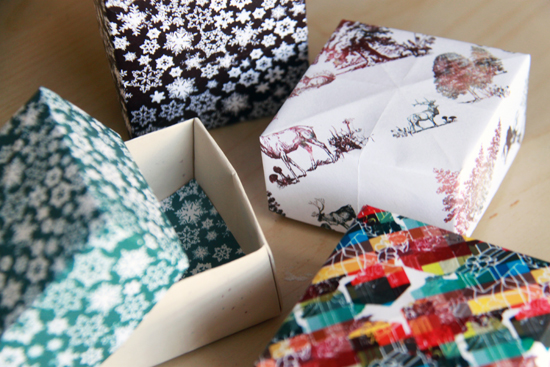 Scrapbook paper gift boxes