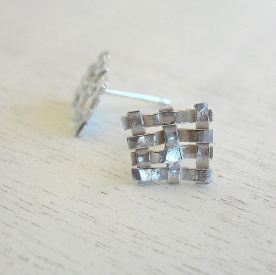 Square Geometric Earrings by HilaBinyamin