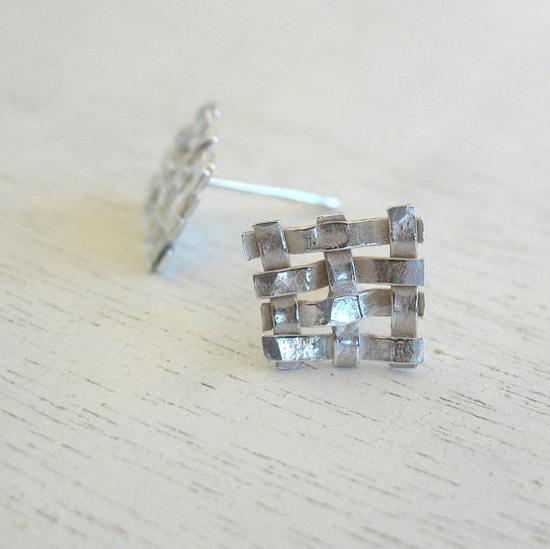 Square Geometric Earrings by HilaBinyamin