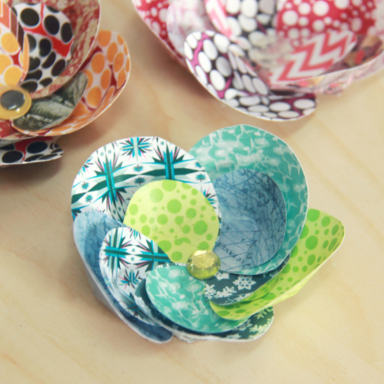 Colorful paper flowers diy