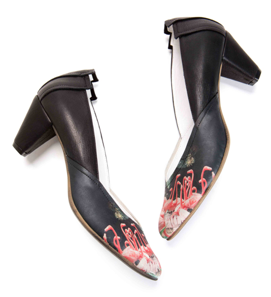 Pink Flamingos print on leather shoes