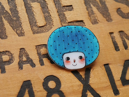 The Blue Bob Girl - Brooch or Magnet by Minifanfan