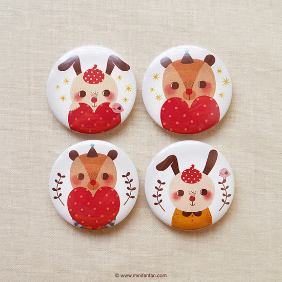 Bear and Rabbit Hug Love - Button Badges by Minifanfan