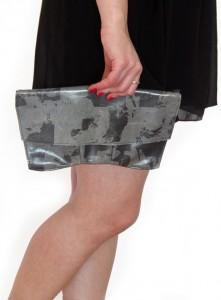 Print on Leather Clutch Bag