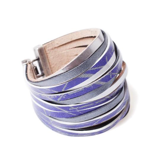 Printed leather cuff bracelet
