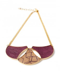 Printed leather necklace