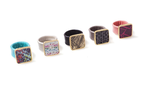 printed leather rings