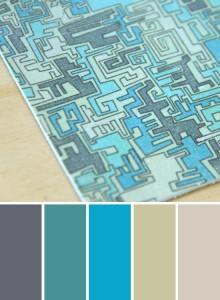 Mint, Grey and Aqua printed leather