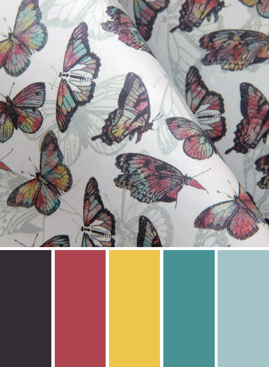 Colorful Butterflies print on leather