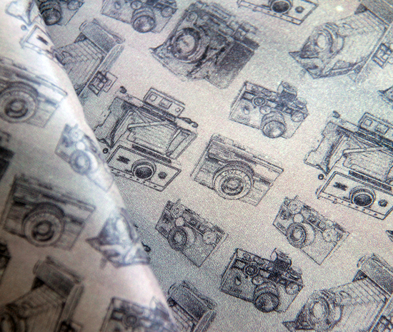 Printed leather with Vintage Cameras pattern design