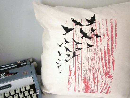 screen printed pillow cover - birds and woodgrain
