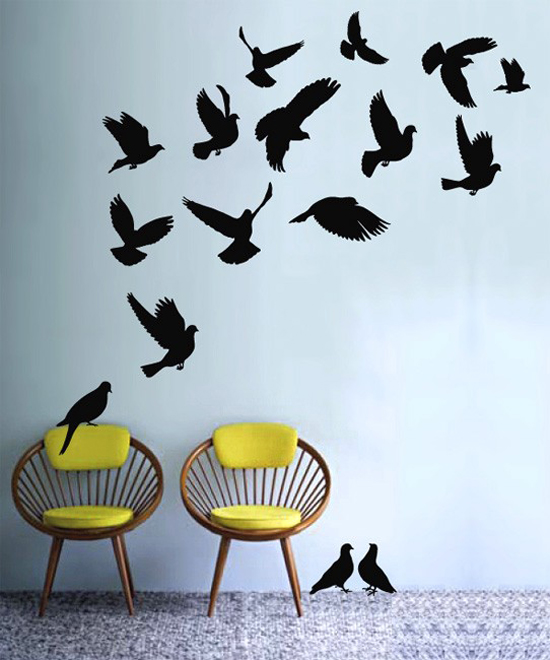 Flock of flying birds wall decals vinyl stickers