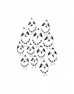 pen and ink black and white flock of birds
