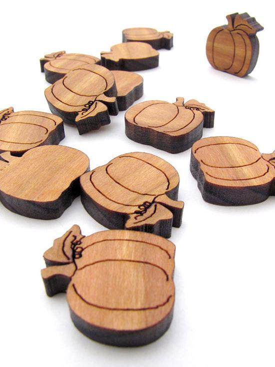 Laser cut wooden pumpkins