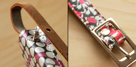Attaching leather pieces with studs
