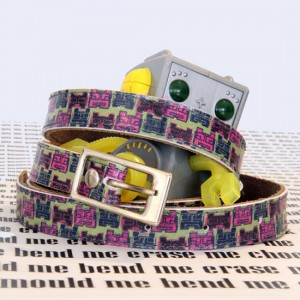 Printed leather belt by worldofpineapple