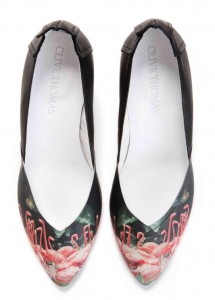 Pink Flamingos printed leather shoes