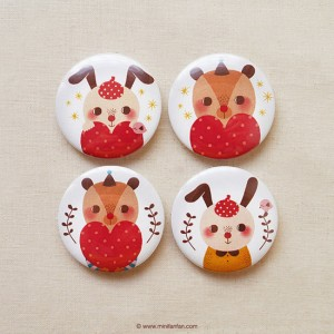 Bear and Rabbit Hug Love - Button Badges by Minifanfan