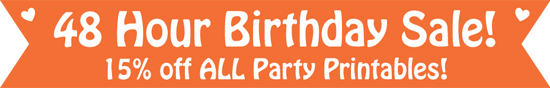 Birthday Party Printables by Pixiebear on Sale